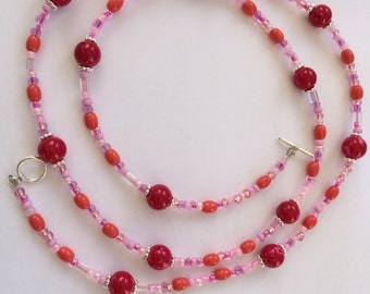 Pink coral glass beaded necklace
