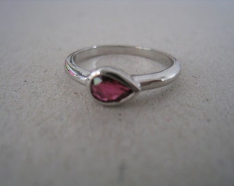 Genuine Red Sapphire Sterling Silver Stacking Ring