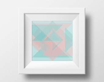 Duck Egg Blue & Pink Geometric Print