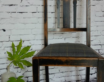 Dining chair, Hall chair, Tartan, Traditional, Vintage, Retro, Distressed, Traditionally upholstered, statement piece