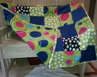 Geometric blue pink and green fleece blanket