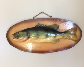 Vintage 1940 yellow perch wall hanging fish fisherman's trophy frame wall decor