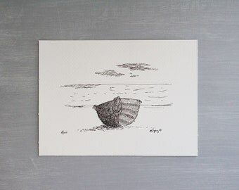 Boat on a beach - Ink Print