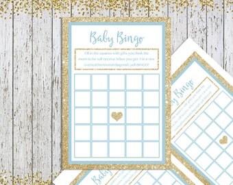 Baby Shower Bingo, Blue Gold Baby Shower Games, Baby Boy Shower Game, Printable Baby Shower Game, Boy Gold Bingo Game, Baby Shower