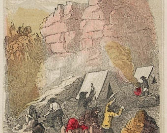 """1856 ORIGINAL wood engraving of California Gold Miners, from Henry Howe's """"Historical Collections of the Great West...."""""""