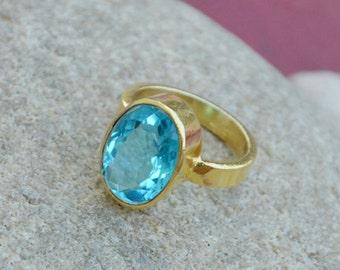 Oval Cut Blue Topaz Ring -Wedding Gift Ring -December Birthstone Ring - 9K,14K,18K Yellow Gold Ring - Wedding Ring- Blue Topaz Gold Ring