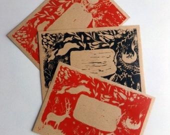 3 envelopes printed by linocut