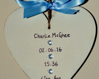 New Baby Gift Heart Personalised