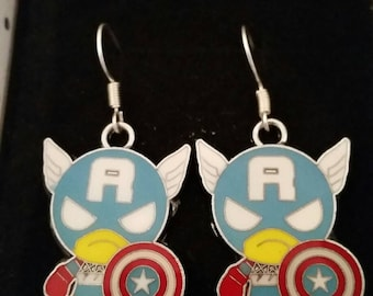 Captain America Superhero Earrings