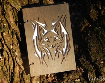 Fox laser cut wooden sketchbook hand painted