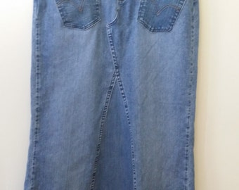 Women's Reconstructed Long Denim Skirt, Size 12