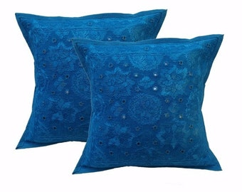 Ethnic style handmade mirror work cushion covers,cotton pillow cover set of 2 pcs