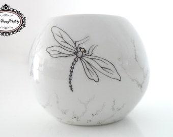 Candelstick porcelain (dragonfly motif)