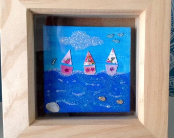 Framed mini canvas. Out at sea