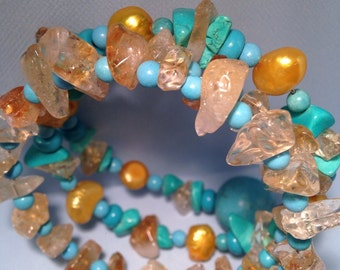 Bracelet of pearls, turquoise, rough Crystal aulite