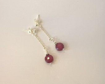 Earrings for pierced ears 925 Silver and Ruby Earrings trimmed in coins, gift for her, mother's day, birthday,...
