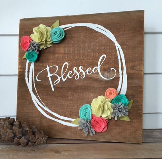 wooden plaque craft ideas blessed rustic wall decor reclaimed wood sign with felt 5778