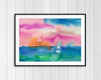 Sail and Sunshine 2 Original Watercolor Painting