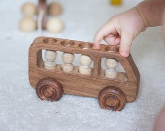 Wooden Push Bus with Passengers. Natural Wooden Baby Toy. Waldorf Natural Toy. Eco-Friendly Handmade Toy for Toddlers