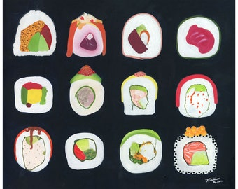 Sushi Roll Art - sushi artwork - asian food art - sushi rolls painting - food art print - kitchen decor