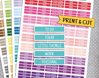 Daily MDN Headers Set, Printable Planner Stickers, Erin Condren Planner Stickers, Header, To Do Today Little Things Personal Work