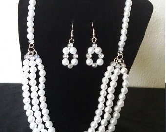 Elegant white pearl beaded necklace S53972