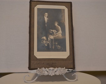 Vintage Photography Happy Couple on Bench Flowers