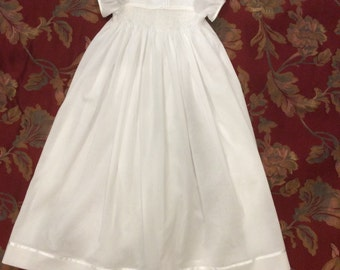 Christening Gown, Hand Smocked, Hand Beaded