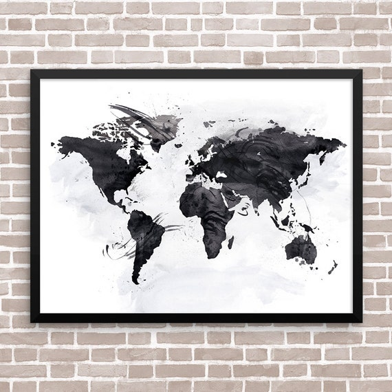 black and white map art world map wall art home office by artsaren. Black Bedroom Furniture Sets. Home Design Ideas