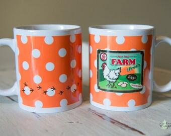 Farm Fresh Chicken and Eggs Coffee or Tea Ceramic Mug, 11 oz, Farm Table Decor, Vintage Flair, Retro Country Kitchen Style