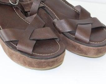 Brown Suede Sandals Wedges BRONX Vintage Brown Suede Chunky Wedge  Shoes Brown Slingback Club Kid Summer Strap Heels EUR 40 / Uk 7 / US 9