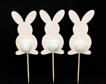 set of 12 White glitter Bunny rabbit with cottonball tail cupcake,food toppers. Perfect for Easter, spring, baby showers and any themed