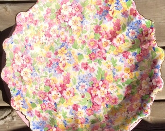 Pretty in Pink-James Kent Longton Chintz 8 inch Apple Blossom Dish