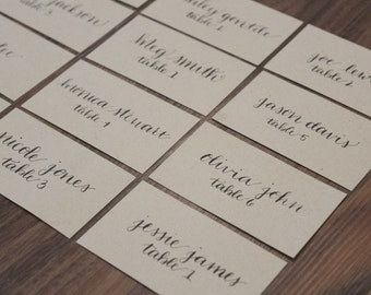 Kraft Handwritten Calligraphy Place Cards