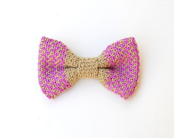 Pink and beige cotton bow tie bows, papillon summer