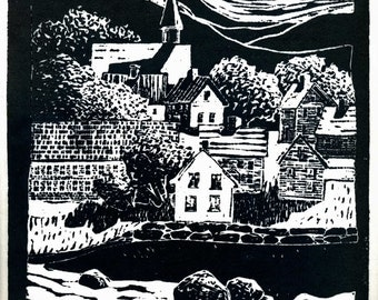 New England Mill Town, Original Linoleum Block Print