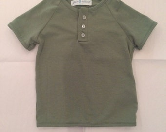 Olive Green Infant 3 Button Henley Top