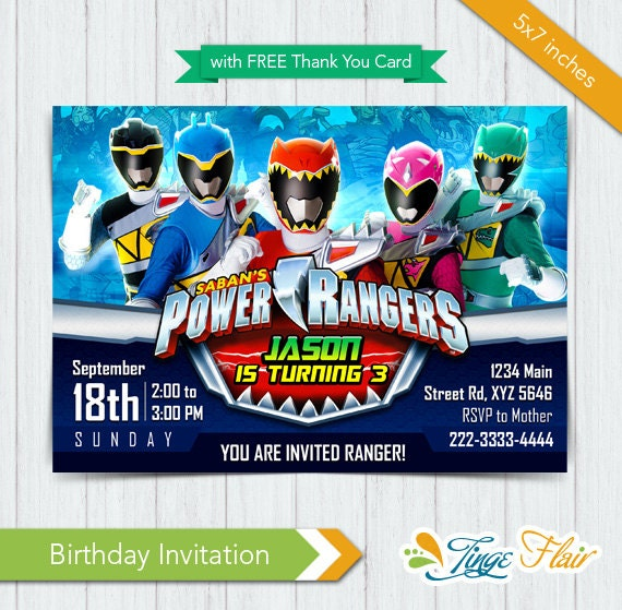 Power Rangers invitation Power Rangers Dino Charge by ...