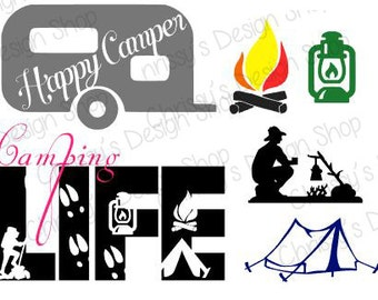 Happy Camper svg download / Happy Camper silhouette download / Camping life svg / camping svg / camper svg / vinyl crafts / camping decals