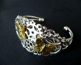 Steampunk gears and butterflies bracelet