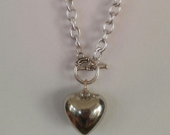Silver necklace with bubble heart