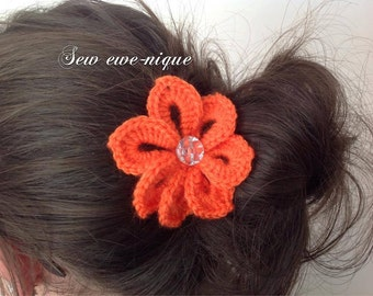 crochet flower snap clip hair clip.