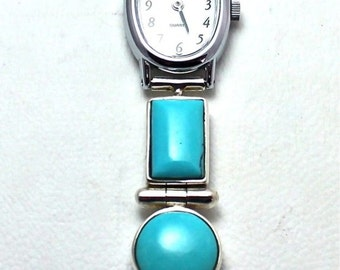 Reversible Signed Christin Wolf Watch Sterling Silver Turquoise Opal Lapis Onyx