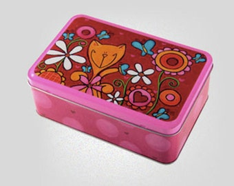 Box metal pink cat Boris 7 5/8 x 5 x 2 5/8 inches