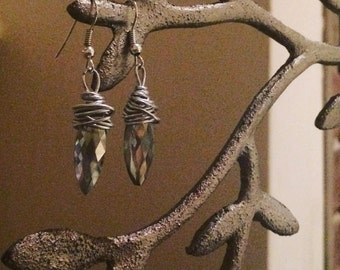 Acorn style Crystal Droplet Earrings