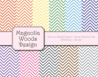Chevron Digital Paper Pack, Pastel Colors Chevron Digital Paper Pack, Pastel Rainbow Digital Paper Pack, Small Commercial Use Paper Pack
