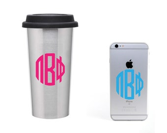 Pi Beta Phi Monogramm Circle decal vinyl window bumper Sorority greek letters laptop sticker  available in 30 different colors