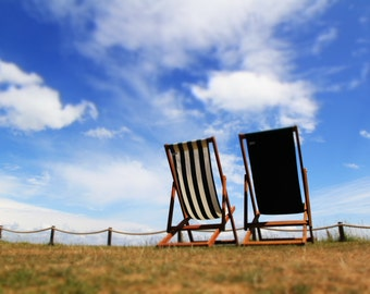 "Deck Chairs ""Relax"",Art Print, Wall Art,Sea Side,Beach,Summer Time, Summer Holiday,Photographic Image"