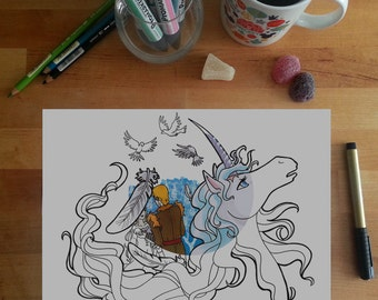 The Last Unicorn Colouring Page, Amalthea and Lir, unicorn colouring page, adult coloring pages, fantasy colouring page