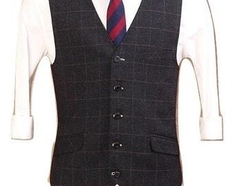 Men's Vest in black check